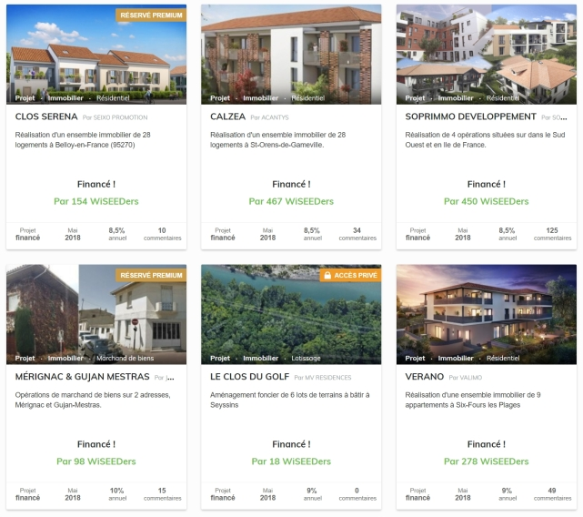 Projets crowdfunding immobilier WiSEED